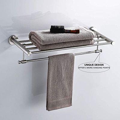 Whifea Brushed Nickel Towel Shelf with Towel Bar, Stainless Steel Towel Rack