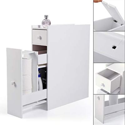 JAXPETY Wood Bathroom Storage Floor Cabinet Toilet Organizer