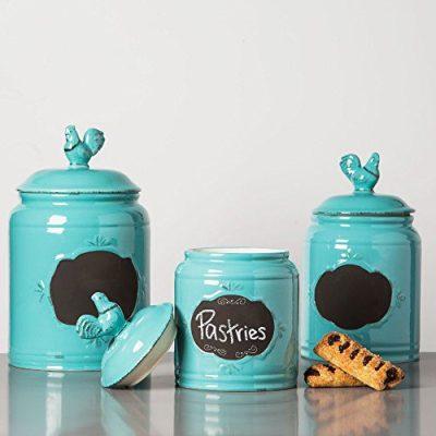 Set of 3 Aqua Ceramic Round Chalkboard Rooster Canister Jars