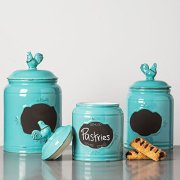 Set of 3 Aqua Ceramic Round Chalkboard Rooster Canister Jars