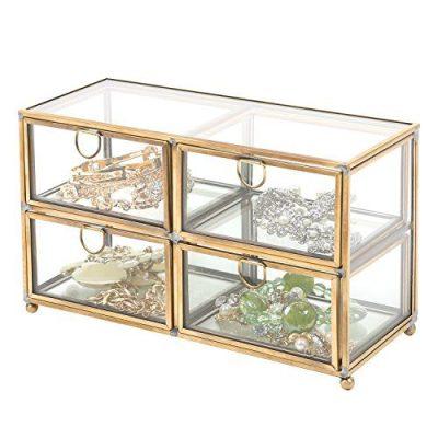 MyGift Vintage Clear Glass & Brass Metal 4 Drawer Display Box