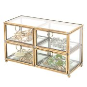 MyGift Vintage Clear Glass & Brass Metal 4 Drawer Display Box