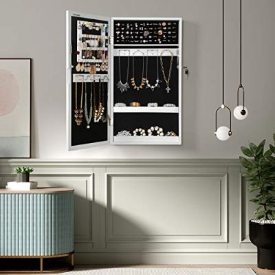 SONGMICS Lockable Jewelry Cabinet Armoire with Mirror