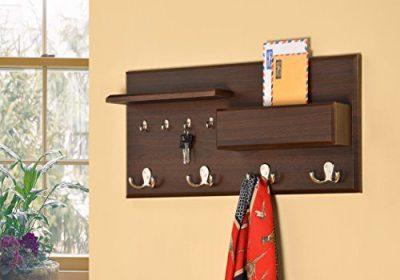 Entryway Coat Rack Mail Envelope Storage and Key Holder Hooks