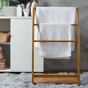 MyGift 33-Inch Freestanding Bamboo 3-Bar Towel Rack