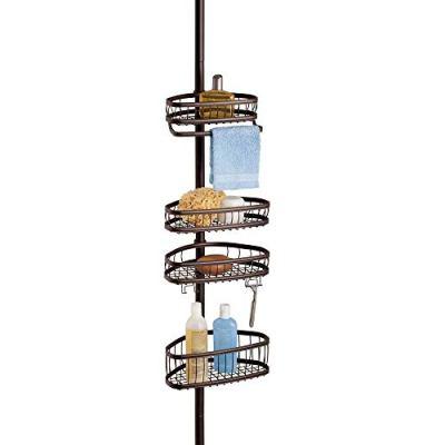iDesign York Metal Wire Tension Rod Corner Shower Caddy