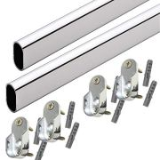 "60"" Oval Closet Rod with End Supports - Polished Chrome"