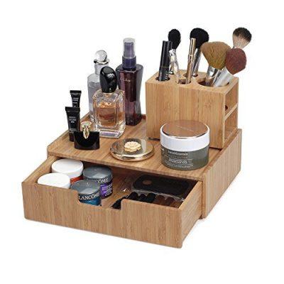MobileVision Bamboo Makeup Drawer Organizer