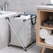 Shushi two compartment laundry Basket collapsible home storage