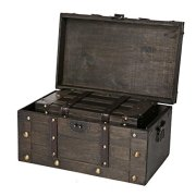 SLPR Alexander Wooden Trunk Chest with Straps (Set of 2, Rustic Brown)