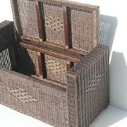 Bruno Handmade 32 Inch Rattan Wicker Chest Storage Trunk Organizer