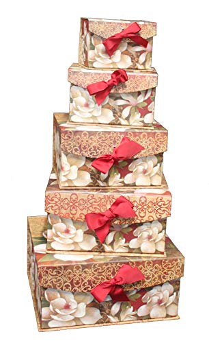 Greenbrier International Floral Nesting Boxes Set of 5 Decorative Storage