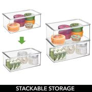 mDesign Long Plastic Stackable Storage Container Bin Box, Hinged Lid
