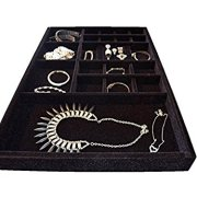 Jewelry Organizer drawer insert tray, Wood and Velvet , Stackable