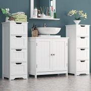 Homfa Bathroom Floor Cabinet, Wooden Free Standing Storage