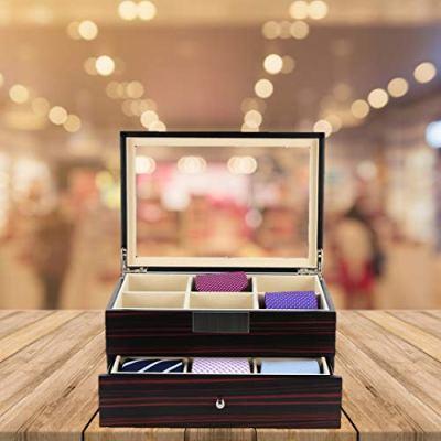 Tie Display Case for 12 Ties Ebony Walnut Two Level Storage Box