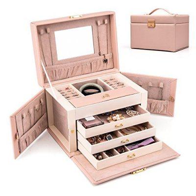 HEZALA Travel Jewelry Organizer, PU Leather Jewelry Box Lockable Storage