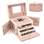 HEZALA Travel Jewelry Organizer, PU Leather Jewelry Box Lockable Storage