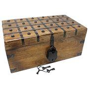 Nautical Cove Treasure Chest Wooden Box with Antique Iron Lock