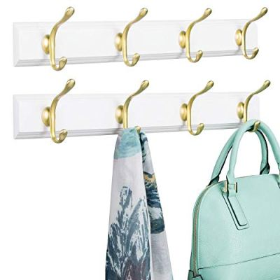 mDesign Decorative Wood Wall Mount Storage Organizer Rack for Coats