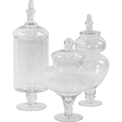 Koyal Wholesale Apothecary Glass Jars, Couture, Large Canisters Set of 3