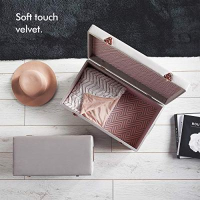 Beautify Gray Velvet Decorative Storage Trunk Set with Rose Gold Clasps