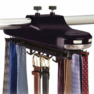 Revolving Motorized Lighted Tie & Belt Rack Hooks Organizer