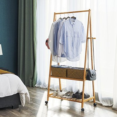 SONGMICS Rolling Coat Rack, Bamboo Garment Rack, Clothes Hanging Rail