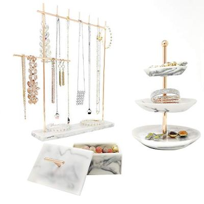 Rose Gold Jewelry Organizer Set 3 - Easily Organize Necklaces Earrings