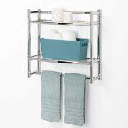 Zenna Home, 2-Tier Wall Mount Bathroom Shelf, Chrome/Glass