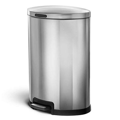 Home Zone Living 45 Liter / 12 Gallon Stainless Steel Trash Can
