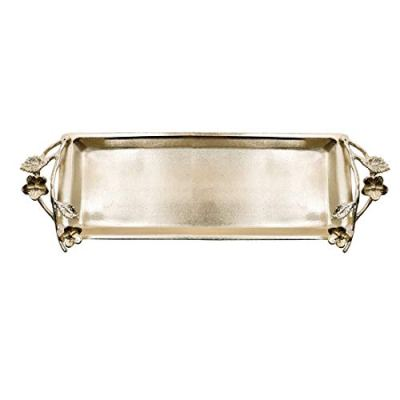 Decozen The Wild Flower Glass Bath Tray Silver Plated and Gold Finished