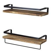 PETER'S GOODS Rustic Floating Wall Shelves with Rails