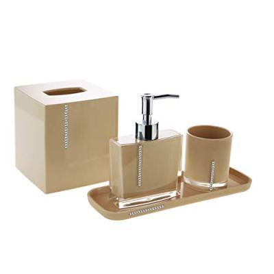 Decozen Bathroom Accessories Set Crystal Beige Decoration Bath Accessories