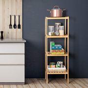Bamboo Bathroom Shelf Stand, 4-Tier Storage Rack Shelving Unit