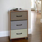 Household Essentials Wooden 3 Drawer Dresser | Storage Night Stand