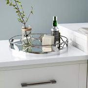 Round Mirror Tray with Nickel Leaf Design - Elegant Serving Tray