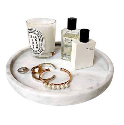 "BEACH'D 10"" Genuine Marble Round Vanity Tray"