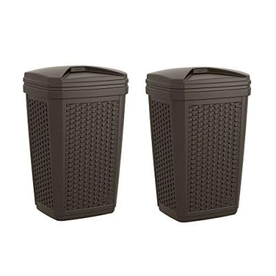 Suncast 30 Gallon Resin Wicker Decorative Outdoor Trash Hideaway
