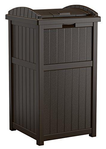 Suncast Gallon Outdoor Trash Can for Patio - Resin Outdoor Trash