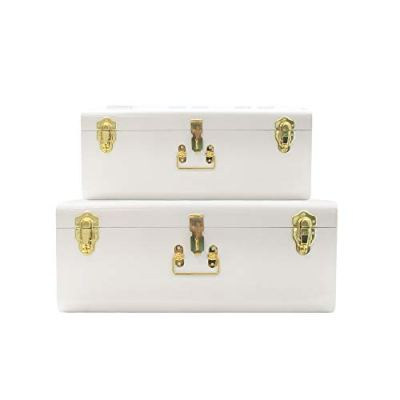 Zanzer White Trunks Set of 2 - Vintage Style Storage w/Gold Finish Handles