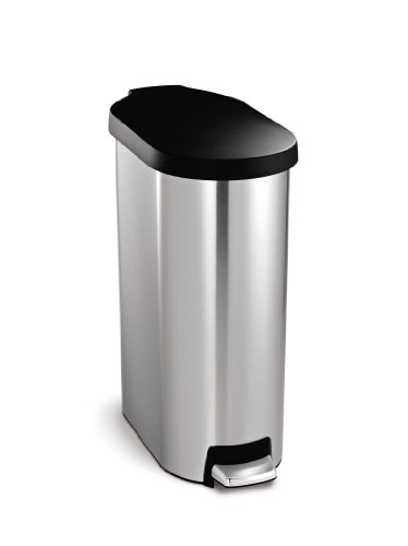 simplehuman 45 Liter / 12 Gallon Slim Step Trash Can, Brushed Stainless Steel