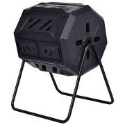 SPP12 43 Gallon Organic Black Cask Compost Bin Lifetime Rotary Composter