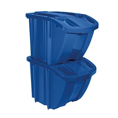 Suncast Recycle Bin Kit - Stackable Organizer Stores Recyclables
