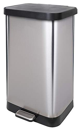 GLAD Extra Capacity Stainless Steel Step Trash Can with Clorox Odor Protection