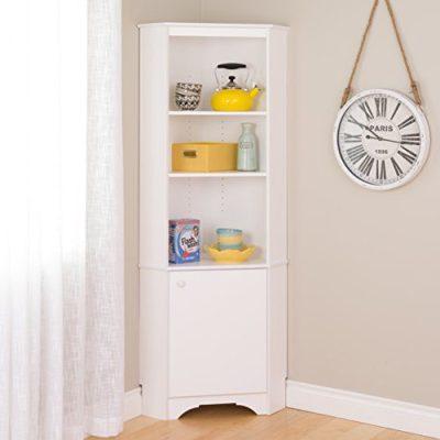 Prepac Elite Home Corner Storage Cabinet Tall 1-Door, White