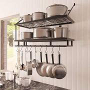 KES 30-Inch Kitchen Pan Pot Rack Wall Mounted Hanging Storage Organizer