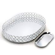 Lindlemann Mirrored Crystal Vanity Tray - Ornate Decorative Tray for Perfume