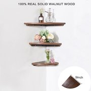 INMAN Wooden Corner Shelf, 1 Pcs Round End Hanging Wall