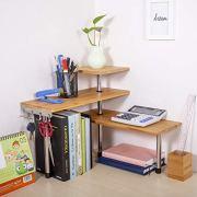Olive Desktop Organizer Office Kitchen Corner Shelf Unit Adjustable Bamboo